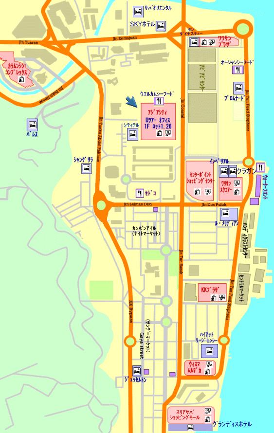 コタキナバルホテルマップ