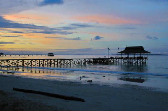 砂浜からの夕焼け